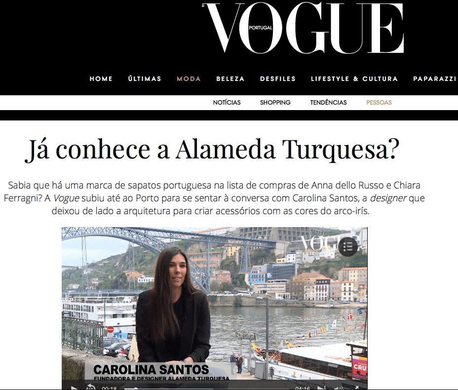 CAROLINA GIVING A VIDEO INTERVIEW FOR VOGUE