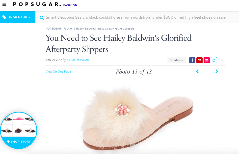 'Oh so cute' slides featured at the popular website Popsugar