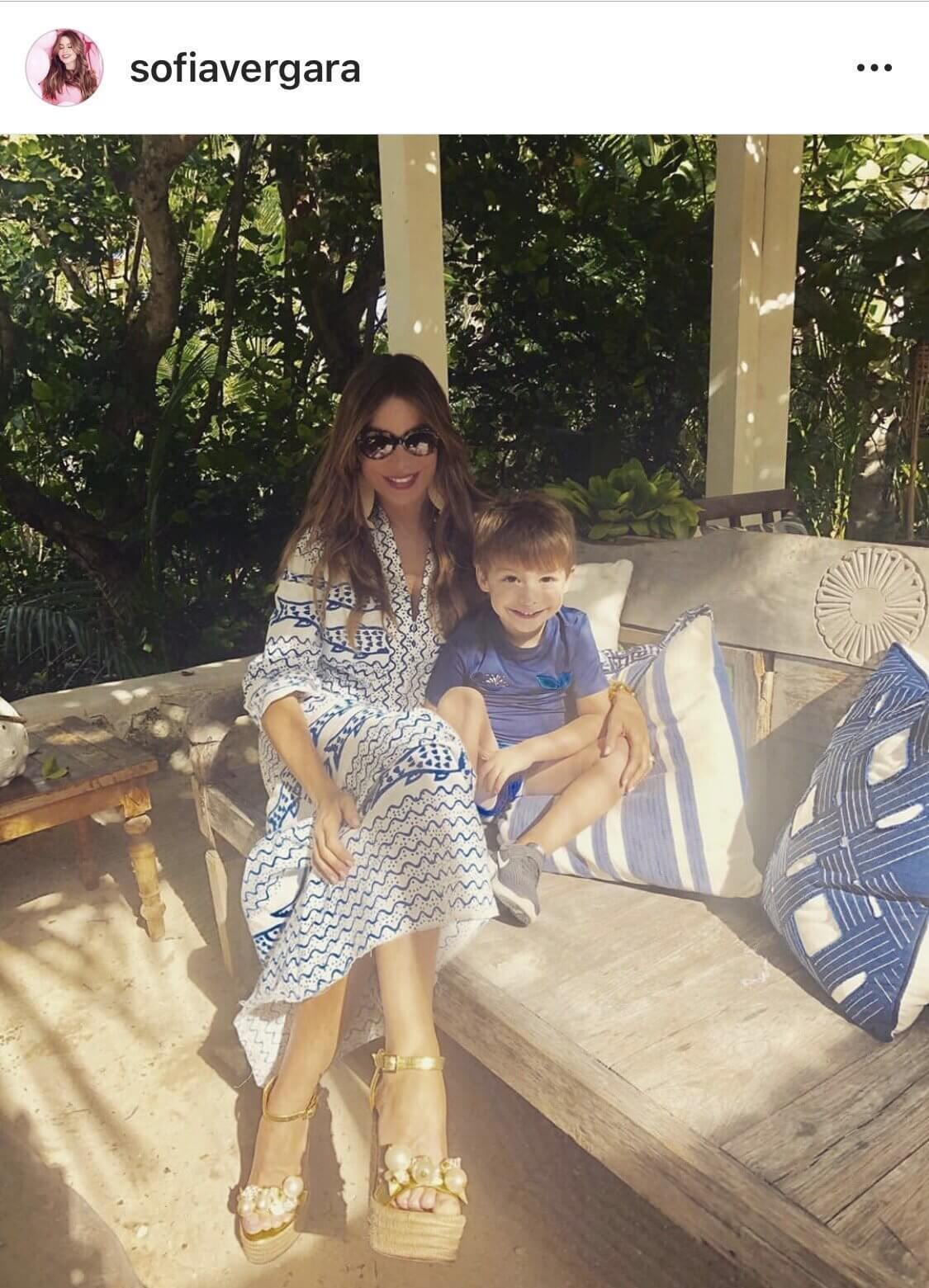 SOFIA VERGARA wearing our 'Guadeloupe' wedges on Christmas Eve