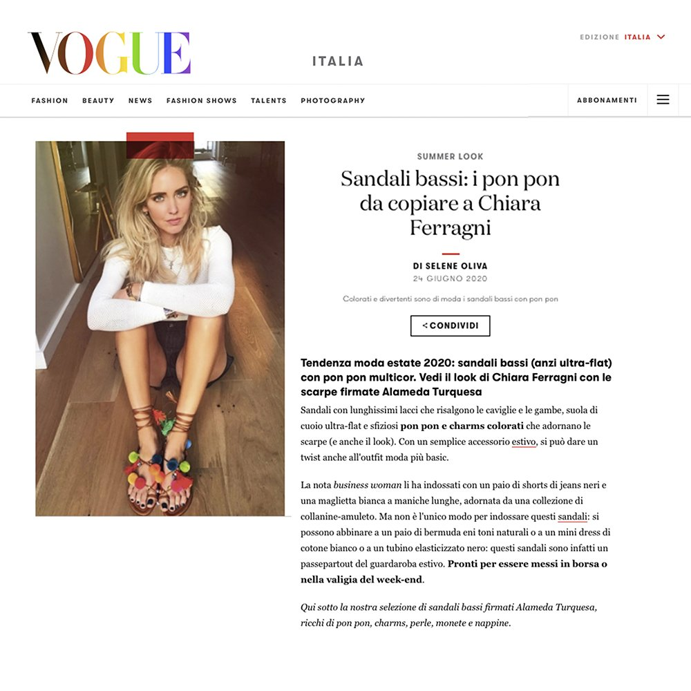 VOGUE ITALIA – ARTICLE ABOUT OUR POM POM SANDALS